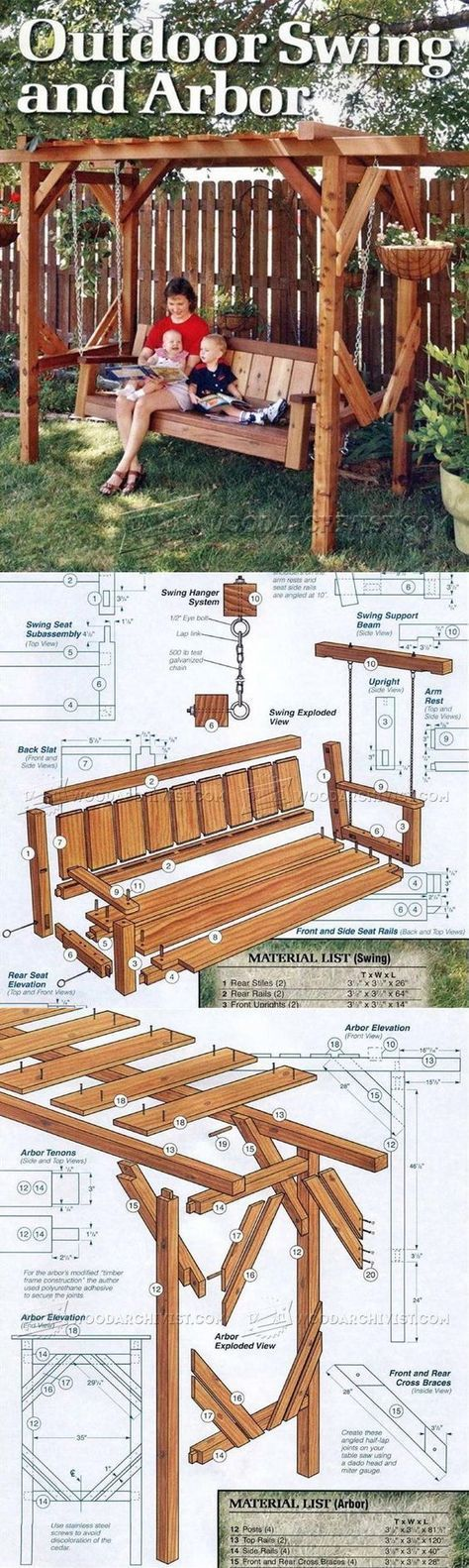Outdoor Arbor Swing Plans - Outdoor Furniture Plans and Projects | WoodArchivist.com