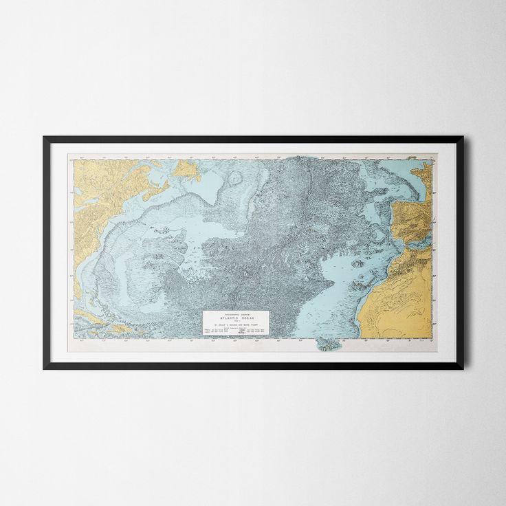 Marie Tharp Map Print Atlantic Ocean Wall Art Housewarming Gift Vintage Living Room Decor New House Gift Dining Room Hangings Antique Poster Com Imagens