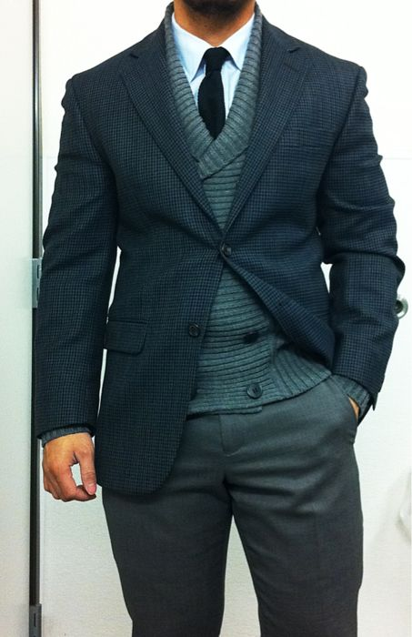 Sports coat layered with a sweater, button up, and a tie paired with classic business slacks. Men's Business Fashion