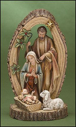 Holy Family Jesus Nativity Scene on Base Christmas Decoration