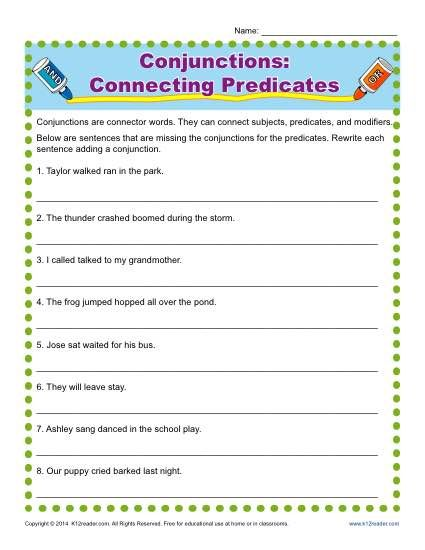 Subordinating conjunctions worksheets for grade 6