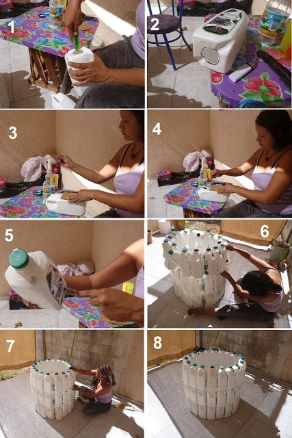 DIY recycle bin from empty bottles. #petbottle #upcycle #diy #recycle