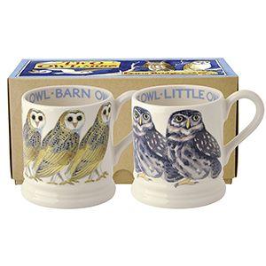 Little Owl & Barn Owl 2 x 1/2 Pint Mug Boxed