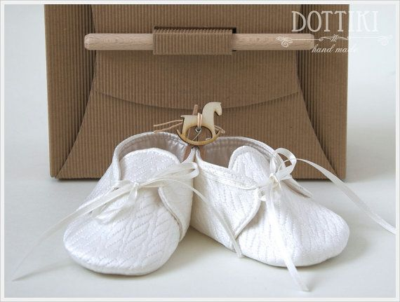 Baby Boy Christening Shoes Silk Booties Baby Gift by DOTTIKI