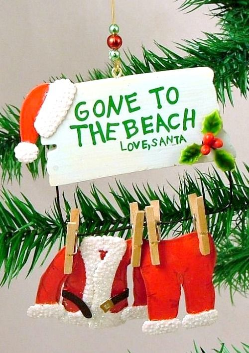 Gone to the Beach Santa Ornament. More than 10 still available. Shop at Beach Bliss Living: http://beachblissliving.com/beach-christmas-decorations/