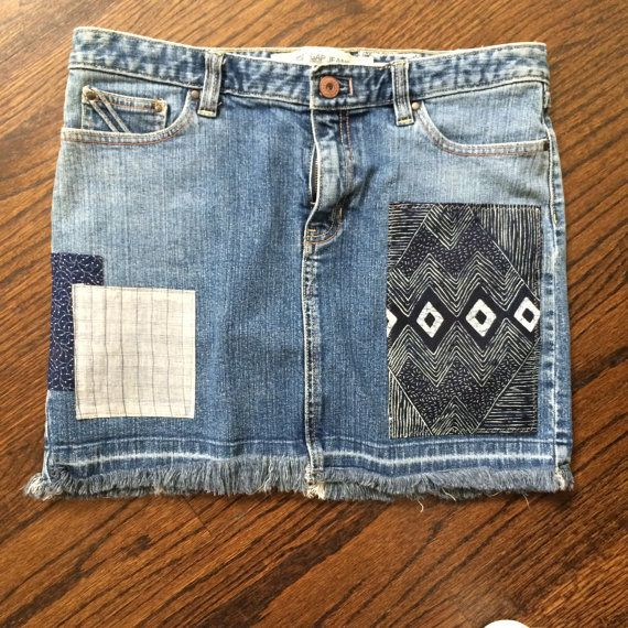Gap Aztec Remixed Patchwork Denim Skirt in size 10 by Rhapsody Reinventions- upcycled women's jean skirt