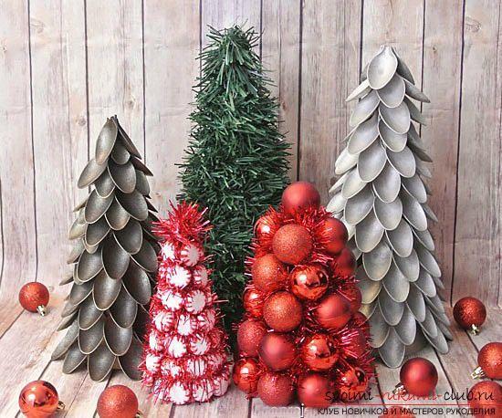 Новогодняя елка своими руками, новогодняя елка из ткани, как сделать новогоднюю елочку своими руками, елка из конфет, мастер-классы по изготовлению елок.. Фото №5