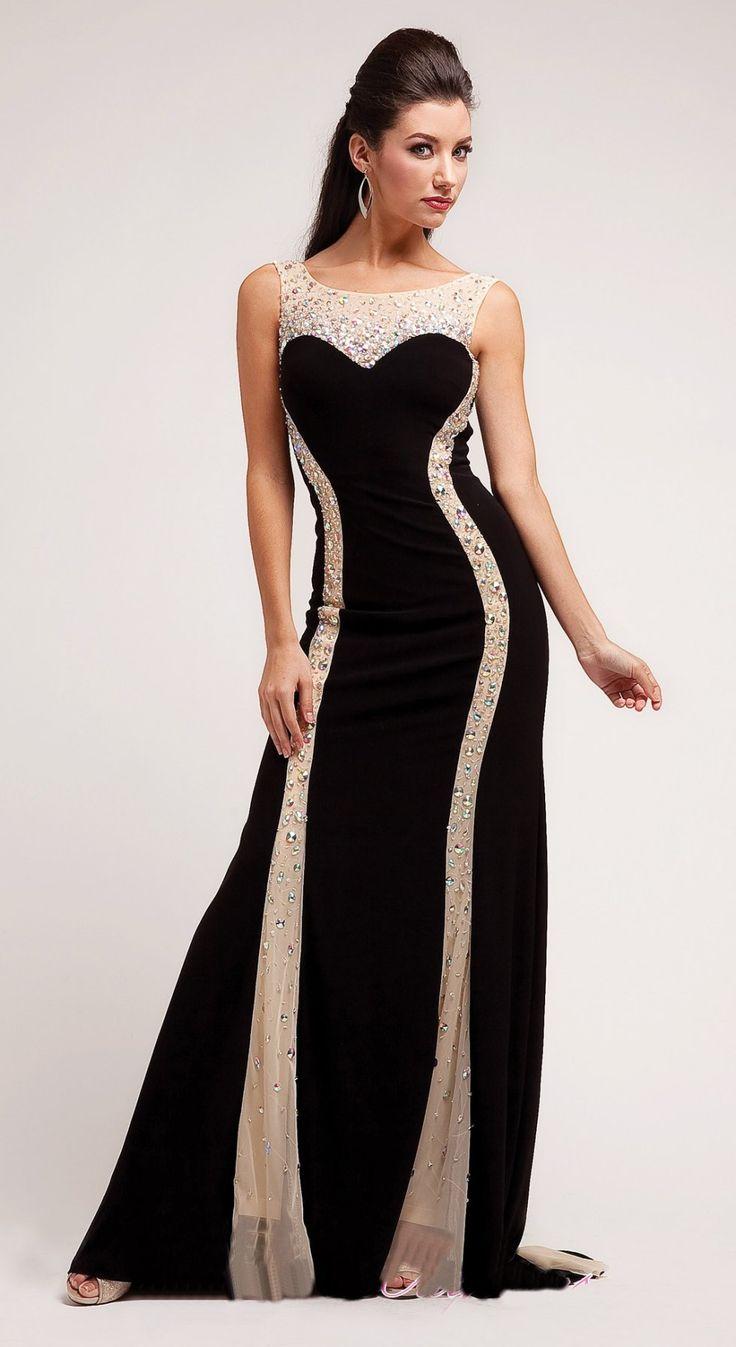 Elegant Black Special Occasion Dress Floor Length Illusion Neck