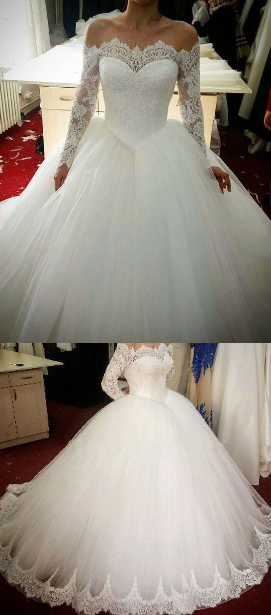 Charming Ball Gown White Wedding Dress with Long Sleeves Lace Appliques
