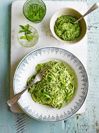 Jamie's courgette 'spaghetti' sometimes known as courgetti is served with a wonderfully piquant rocket pesto, and it's naturally gluten free as well.