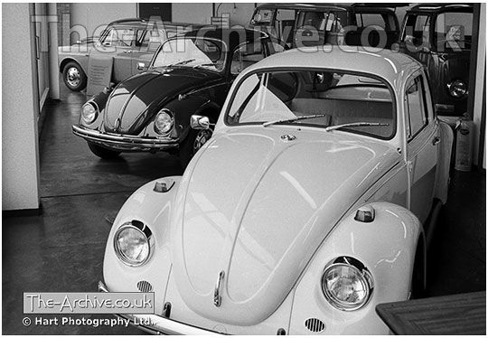 vw beetles for sale in the showroom of mill street volkswagen garage during 1968 stourbridge. Black Bedroom Furniture Sets. Home Design Ideas