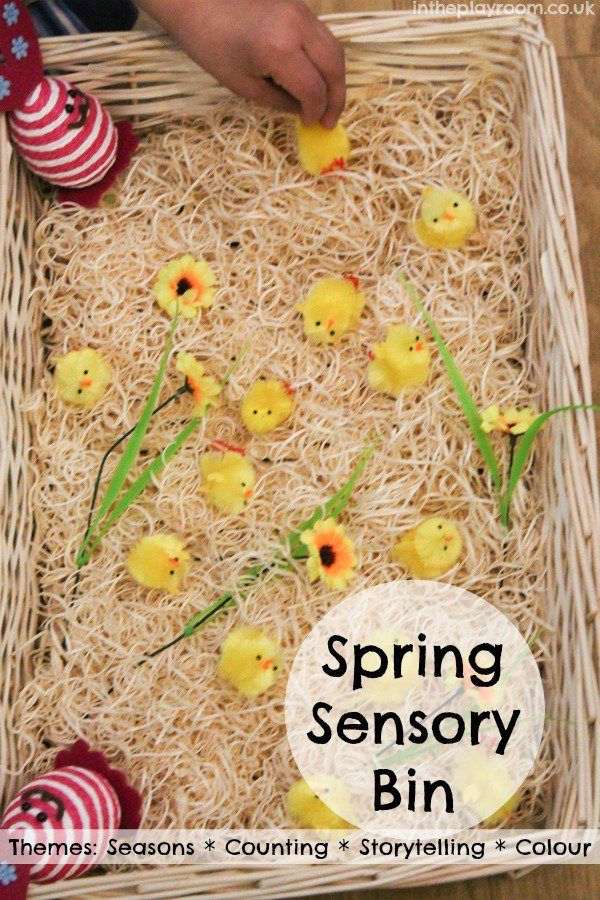 Spring sensory bin for counting, storytelling, seasons and the colour yellow