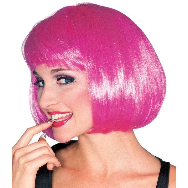 Rubie's Hot Pink Bob Wig (10 CAD) ❤ liked on Polyvore featuring costumes, pink halloween costumes, pink wig costume, pink costumes, wigs costume and rubies costumes
