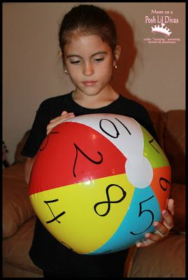 Write numbers 1-10 on a beach ball. Make sure to repeat so kids can practice adding like numbers. When your child catches the ball, they add together the two numbers their hands land on before throwing it to the next person.
