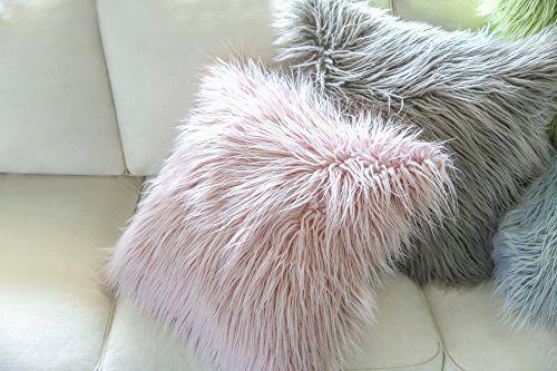 "Phantoscope Luxury Mongolian Faux Fur Throw Pillow Case Cushion Cover 18"" x 18"" (Pink): Amazon.co.uk: Kitchen & Home"