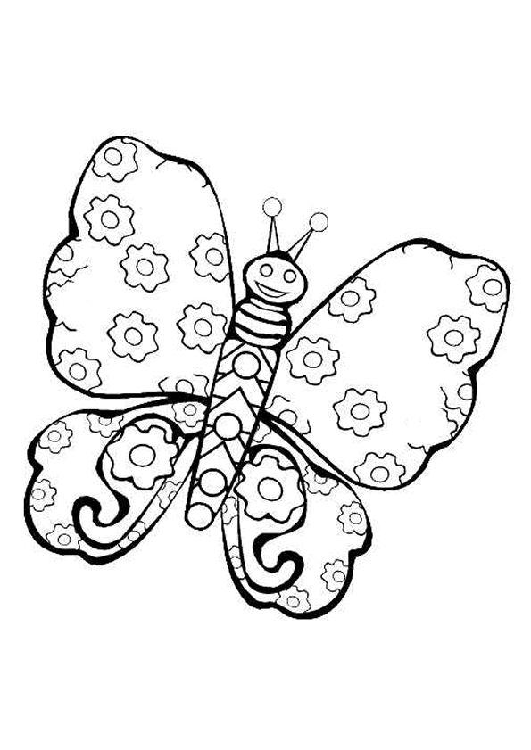 Un papillon avec des ailes motifs fleurs dessin - Image papillon a colorier ...