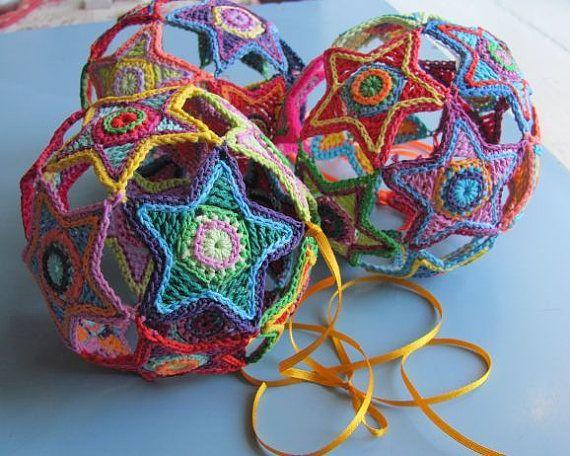 Crochet Pattern-Crochet Colorful Christmas Star Ball-by
