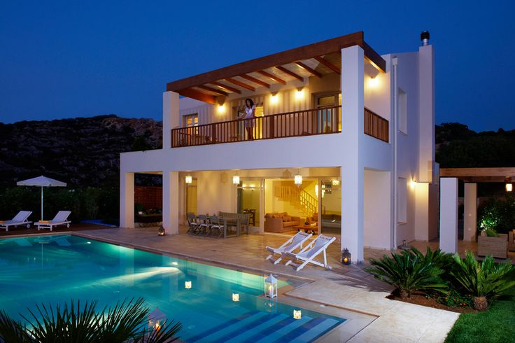 SK Place - Villa Ammos Crete Sleeps up to 6. Set above the water at the edge of a pretty fishing village, this chic and contemporary luxury villa offers high standards, fine facilities and fabulous views of the coastline and Cretan Sea.