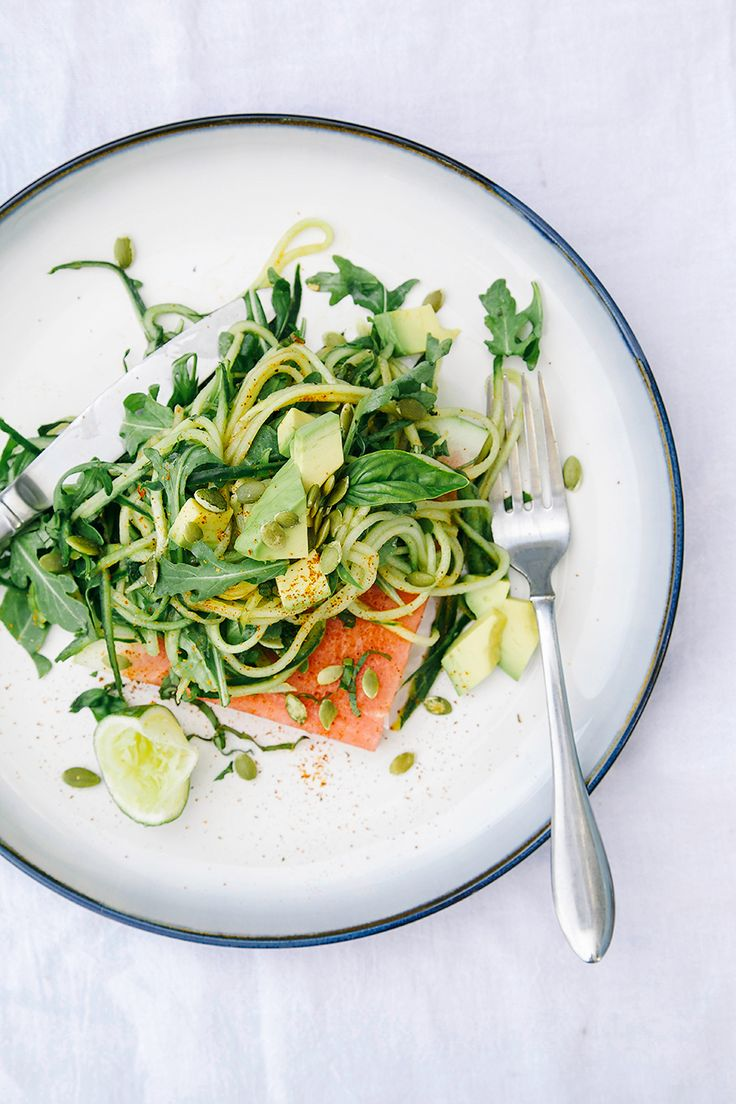 chili lime cucumber noodles on salted watermelon w/ mint + basil