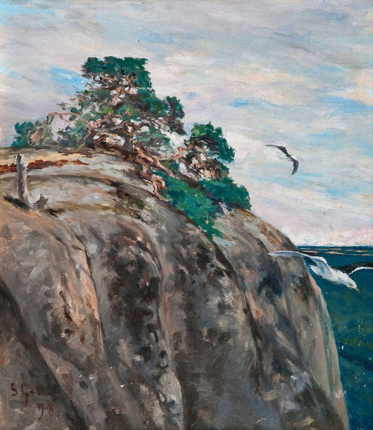 Pine on Rock - Mänty kalliolla, 1898, Sigrid Maria Granfelt (1868-1942) oil on canvas, by Bukowskis - GRANFELT, SIGRID Maria (1868-1942) Taidekoulutus: Suomen Taideyhdistyksen piirustuskoulu 1886-89. Academie Colarossi 1890-92, 1895-96 ja Delaclaire 1895-96, Pariisi, Ranska, Calderonin eläinmaalariakatemia, Lontoo, Englanti 1898-99, Münchenin ja Dachaun eläinmaalariakatemia.Taiteilijan debyytti oli 1893.PALKINNOT: III-palk.dukaattikilp:ssa 1894, II palk.1898.