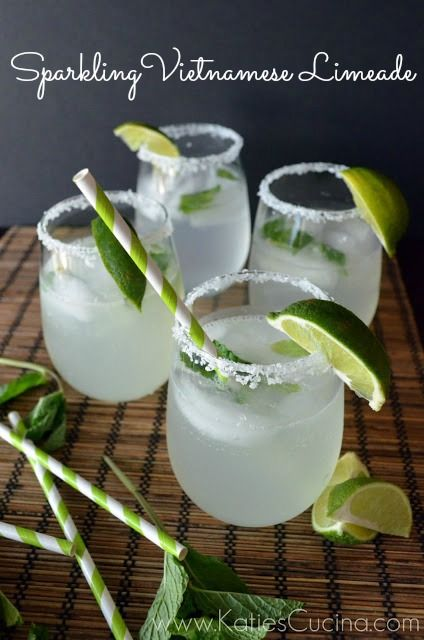 Sparkling Vietnamese Limeade | This Sparkling Vietnamese Limeade is a light-citrus bubbly beverage perfect for sipping on a warm summers day. If you want to kick it up notch add tequila or rum to taste or drink as Jaden suggests with a little gin! | From: katiescucina.com