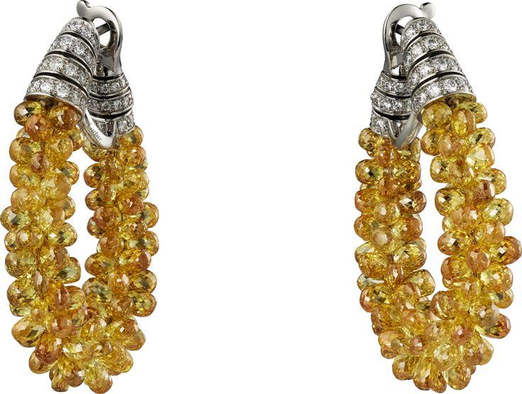 Серьги категории Высокое ювелирное искусство Платина, желтые бриллианты, бриллианты