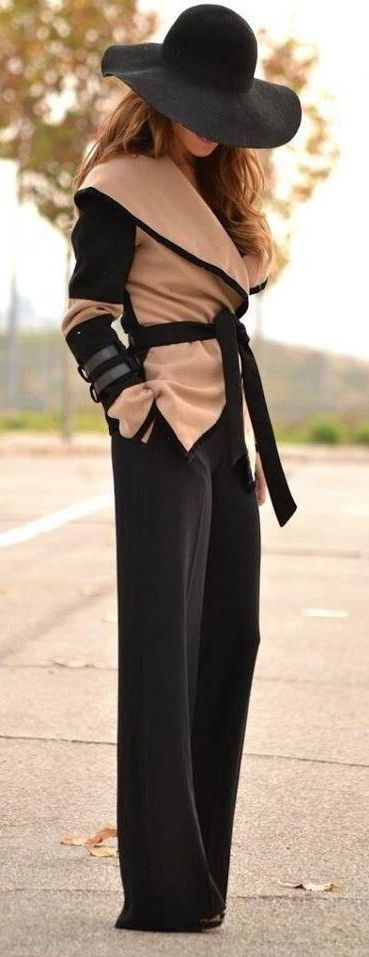 Latest fashion trends: Trousers, color block coat and exquisite hat
