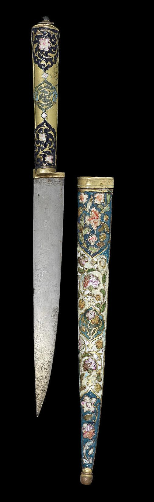 Late-Ottoman enamelled and inset gilt copper 'bıçak' (knife-like dagger). End of 18th Century.