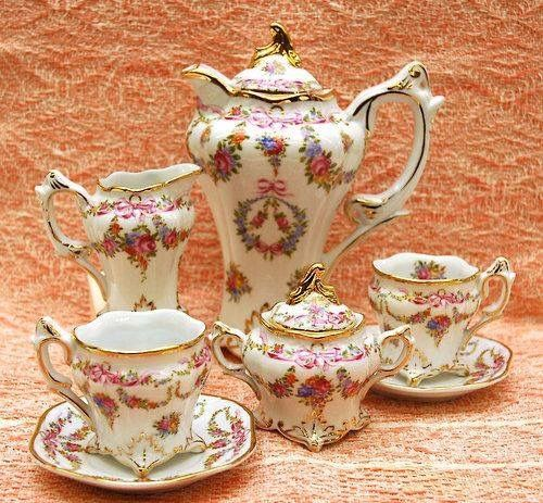 Gorgeous Vintage Tea Service~ All Pieces With Unusual Square Bottoms!