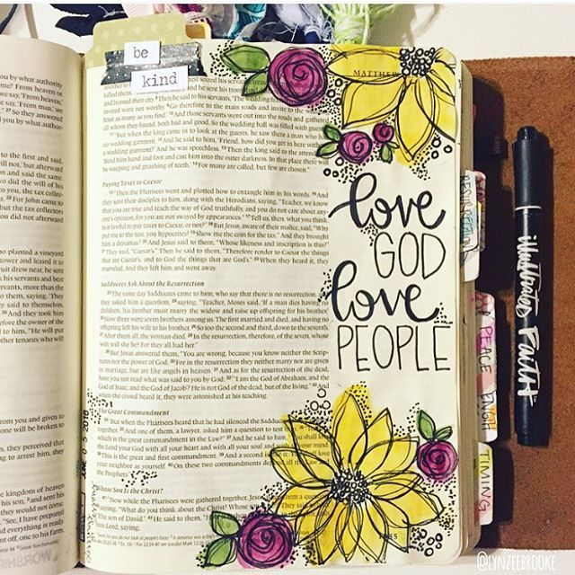 Matthew 22:34-40 💛 Love God. Love people. Anyone else get inspired by the posts from @shannanoel to start this months devotional!? #illustratedfaith #biblejournaling #biblejournalingcommunity #journalingbible #flowerallthethings #loveallthepeople #if_blessingsorlessons