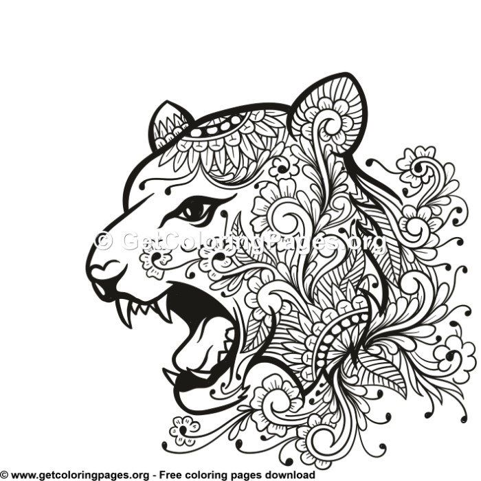 Tiger Head Tribal Zentangle Style Coloring Pages Cat Coloring