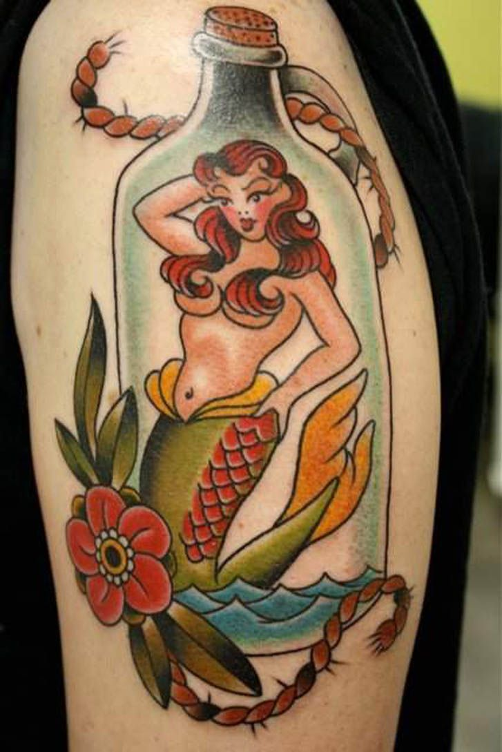 Tattoo old school tatuaggi old school pin up significato e foto quotes - Old School Traditional Nautic Ink Mermaid In Bottle