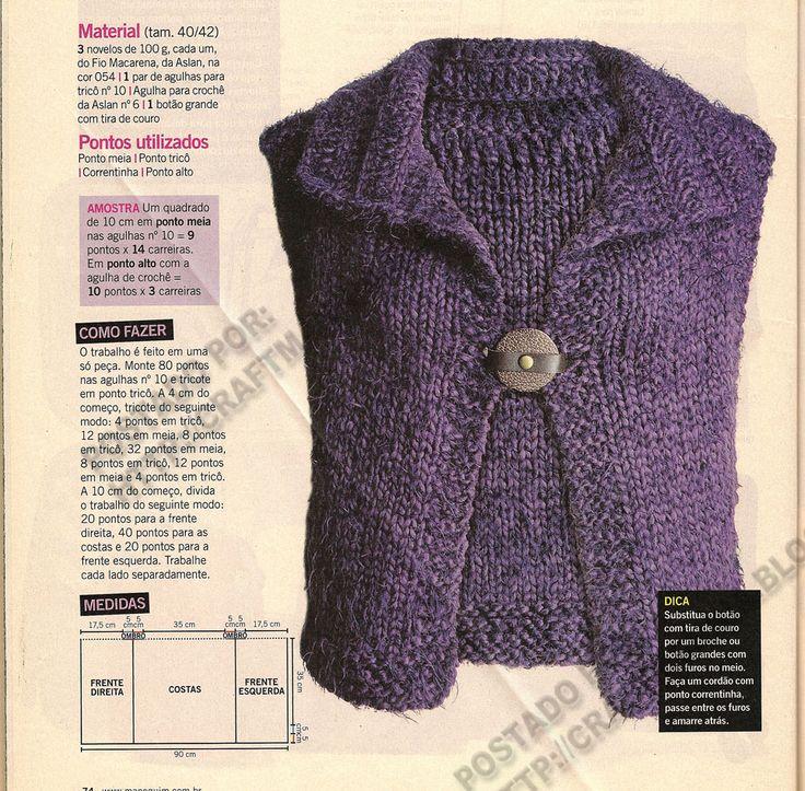 Croche,trico,bordado,ponto cruz,crafts, e muito mais dicas pra voce: Colete de Tricô