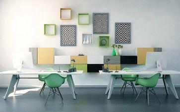 White & Green Office - TETREES shelves on the wall - #modular #furniture #idea
