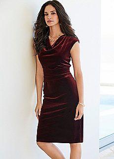 Cowl Neck Velour Dress