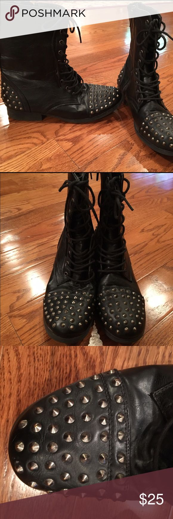 Wanted Black Studded Combat Boots Wanted Black Combat Boots with silver studs. Slightly worn. Wanted Shoes Combat & Moto Boots