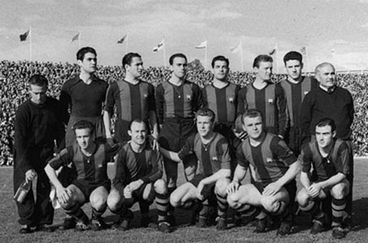El mítico «Barça de las cinco copas». Agachados de izquierda a derecha Basora, César, Vila, Kubala y Manchón.
