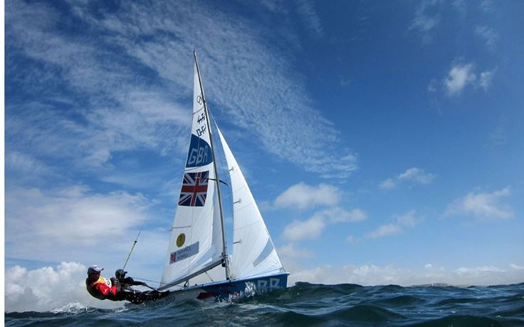 Luke Patience (R) and Stuart Bithell of Great Britain compete in the Men's 470 Sailing on Day 7