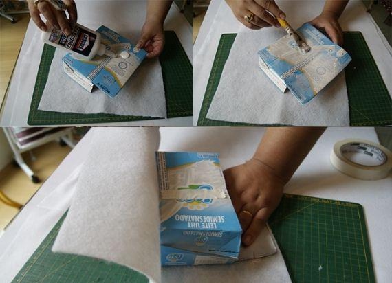 Abra a caixa de leite como mostra a figura e aplique cola branca na parte externa. Em seguida, encape-a com a manta acrílica e faça os ajustes com as mãos para evitar a formação de bolhas. Fotos - Divulgação
