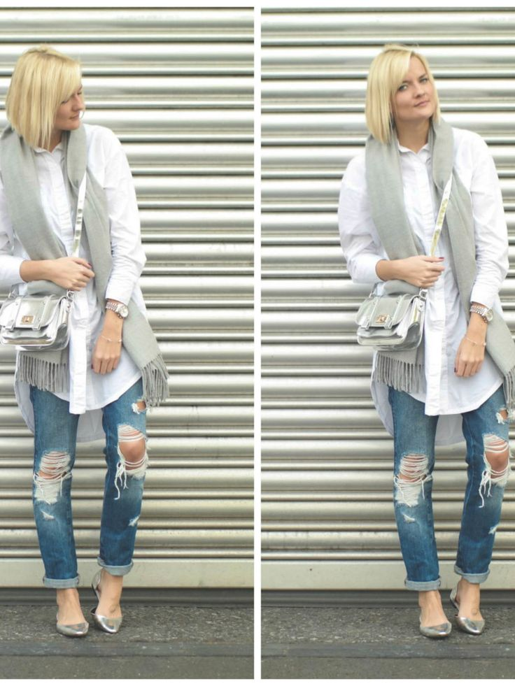Weiße Oversize Bluse und Silberne Zara Schuhe von fashionargument