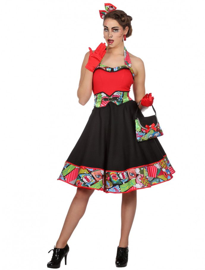 Kleid Comic Damen Schwarz Rot Fur Karneval Fasching Deiters