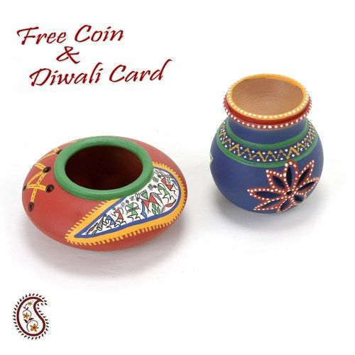 Red and Blue Terracotta Candle Holder with Tribal Art - Online Shopping for Diyas and Lights by Apno Rajasthan