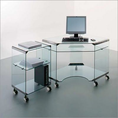 Escritorio para computadora de vidrio port il for Escritorio de vidrio