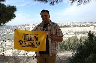 terrible towel in jerusalem.  steelers