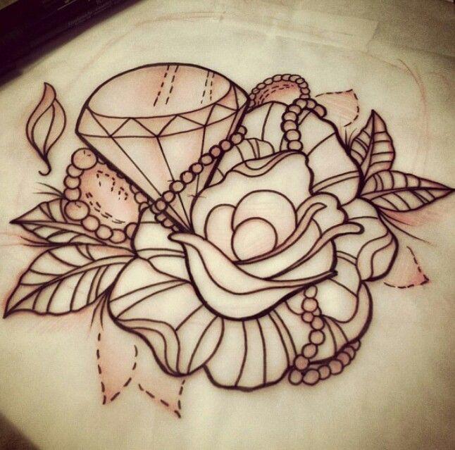 Flower diamond tattoo sketch | tattoos | Pinterest