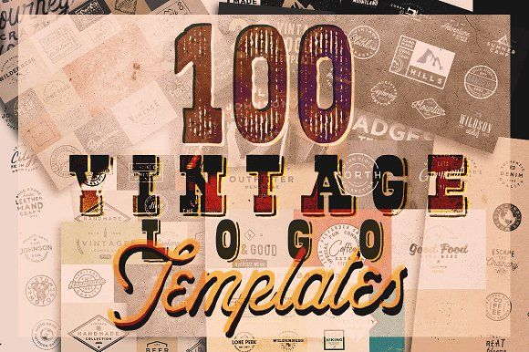 100 VINTAGE LOGO TEMPLATES by Roman Paslavskiy on @creativemarket