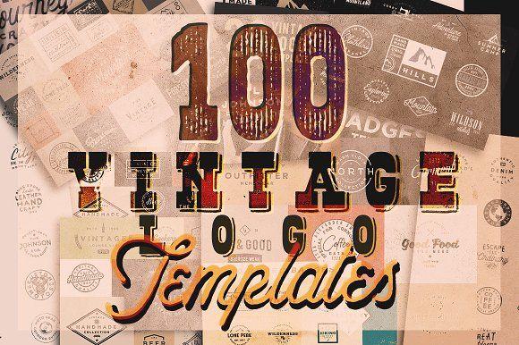 100 VINTAGE LOGO TEMPLATES by Roman Paslavskiy on @creativemarket