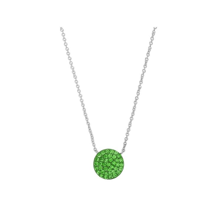 Silver Luxuries Silver Tone Crystal Disc Pendant Necklace, Women's, Green