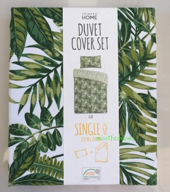 TROPICAL GREEN LEAF PRINT Duvet Set REVERSIBLE Bedding Single Primark  in Home, Furniture & DIY, Bedding, Bed Linens & Sets | eBay