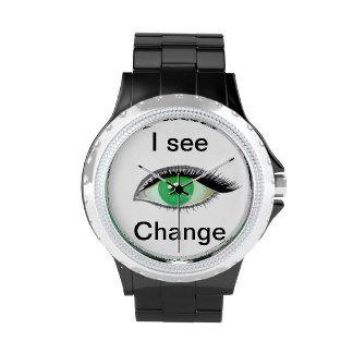 I watch and see change wrist watch
